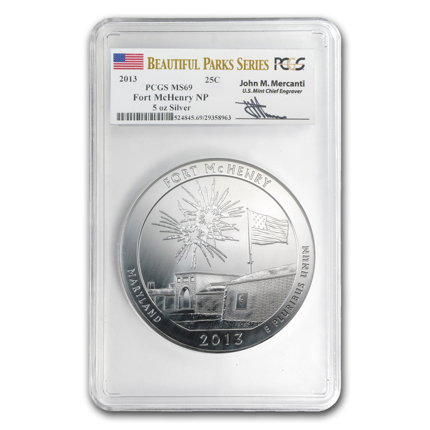 2013 5 oz Silver ATB Fort McHenry MS-69 PCGS (Mercanti)