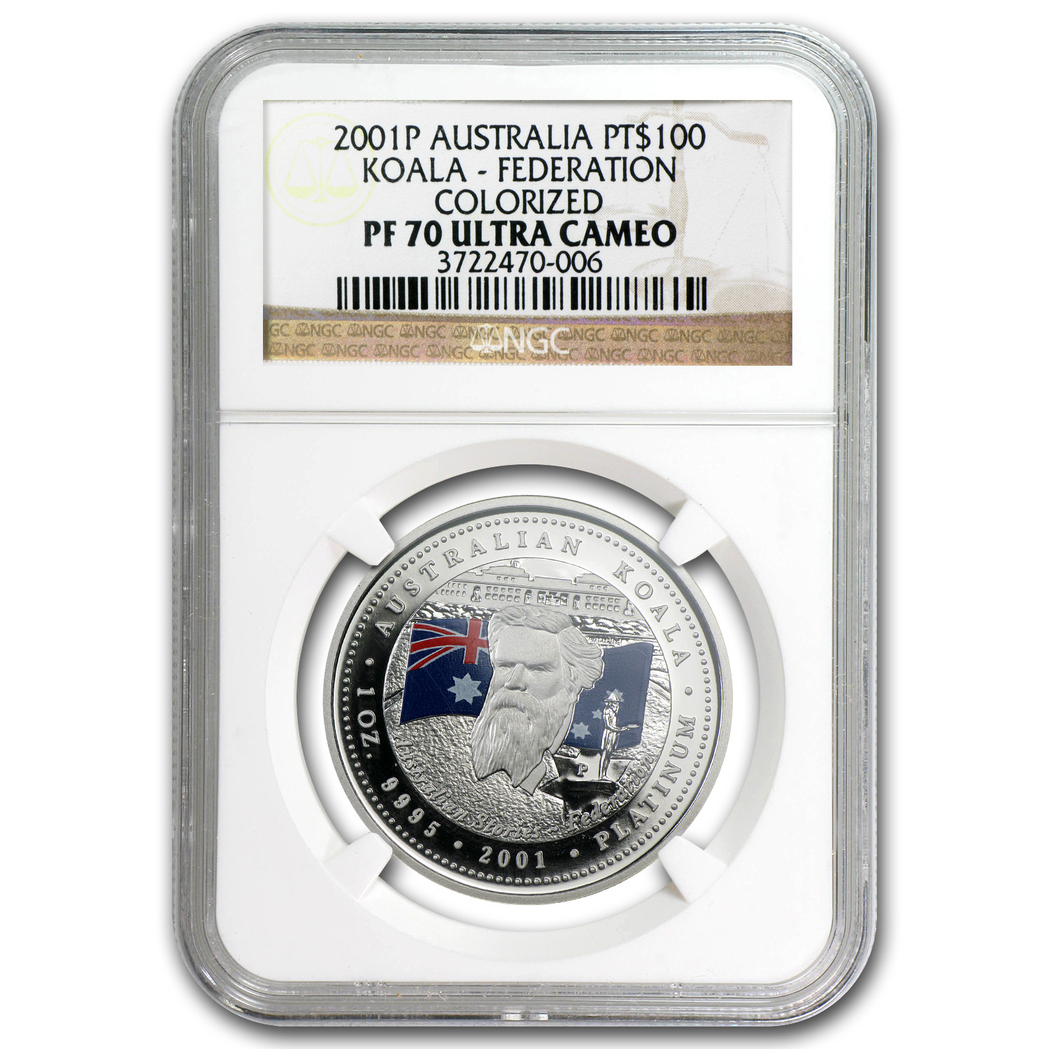 2001 1 oz Proof Australian Platinum Koala PF-70 NGC (Federation)