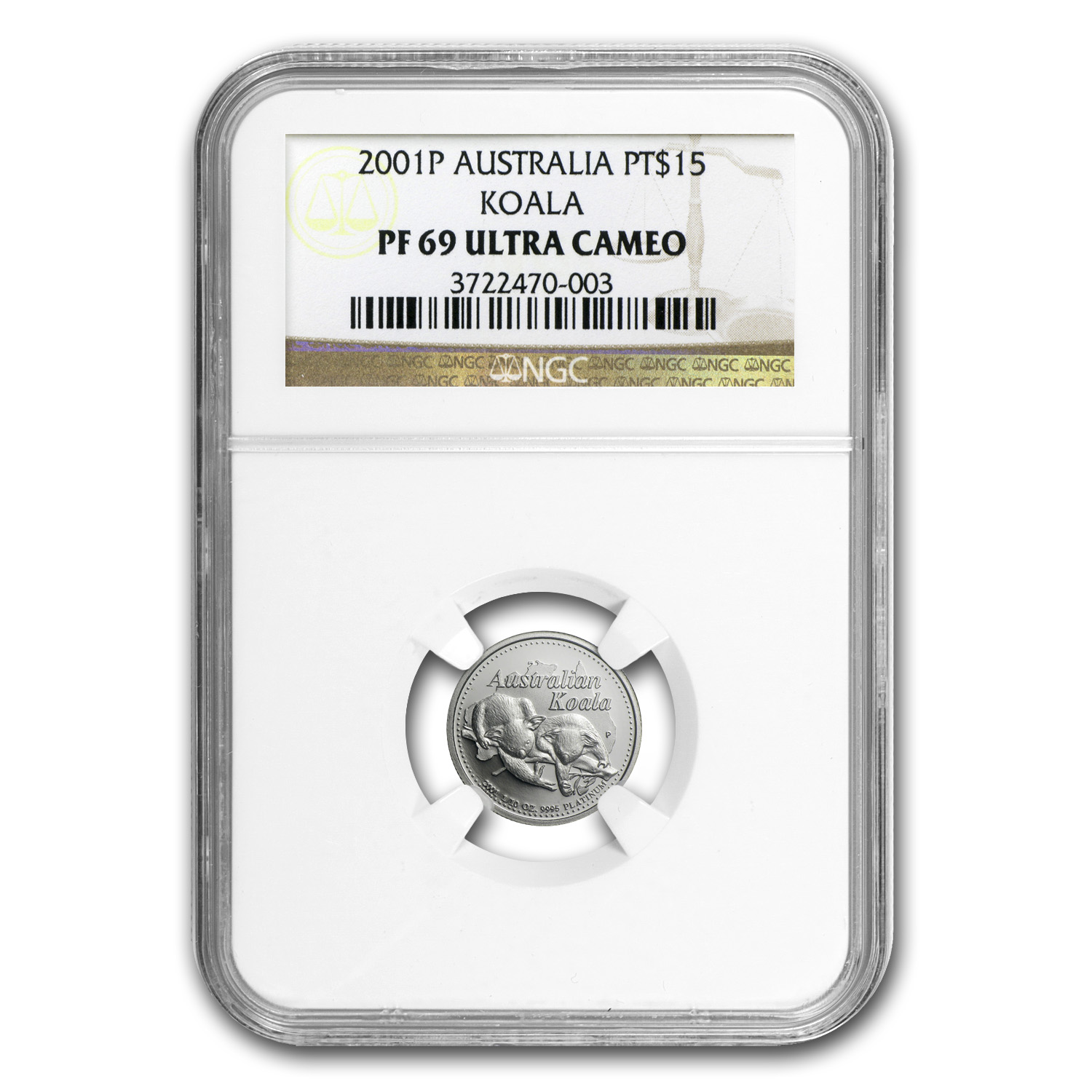 2001 Australia 1/10 oz Proof Platinum Koala PF-69 NGC