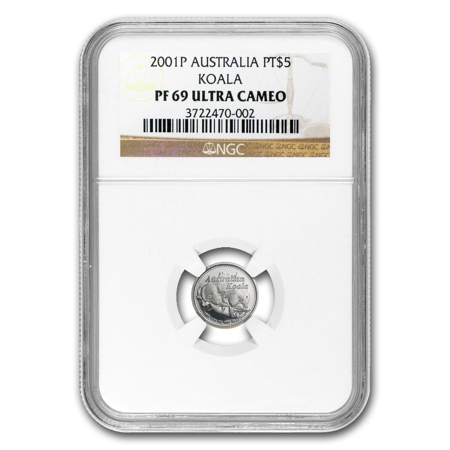 2001 Australia 1/20 oz Proof Platinum Koala PF-69 NGC