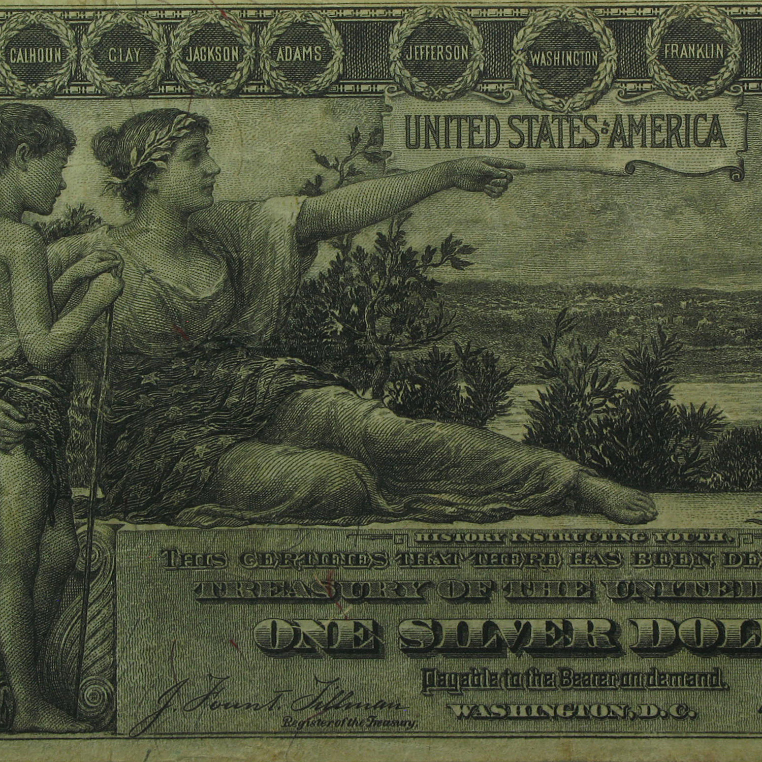 1896 $1.00 Silver Certificate Educational Note VF-20 PMG