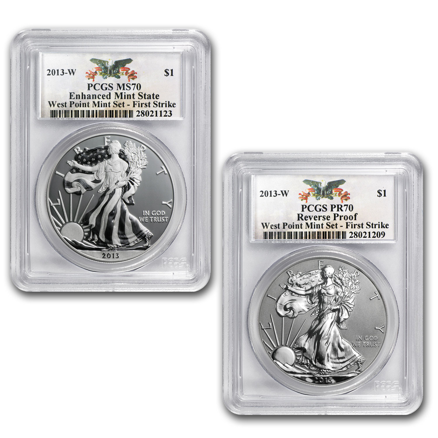 2013 2-Coin Silver Eagle Set MS/PR-70 PCGS (1st Strike, WP)