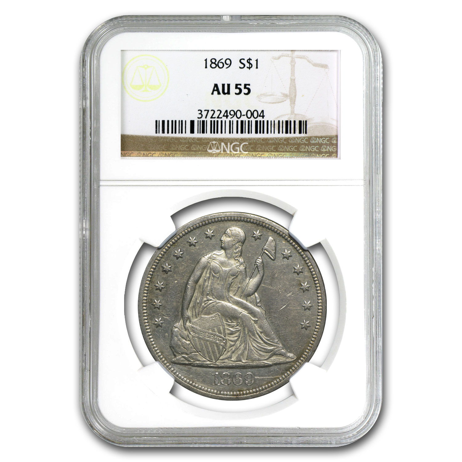 1869 Liberty Seated Dollar AU-55 NGC