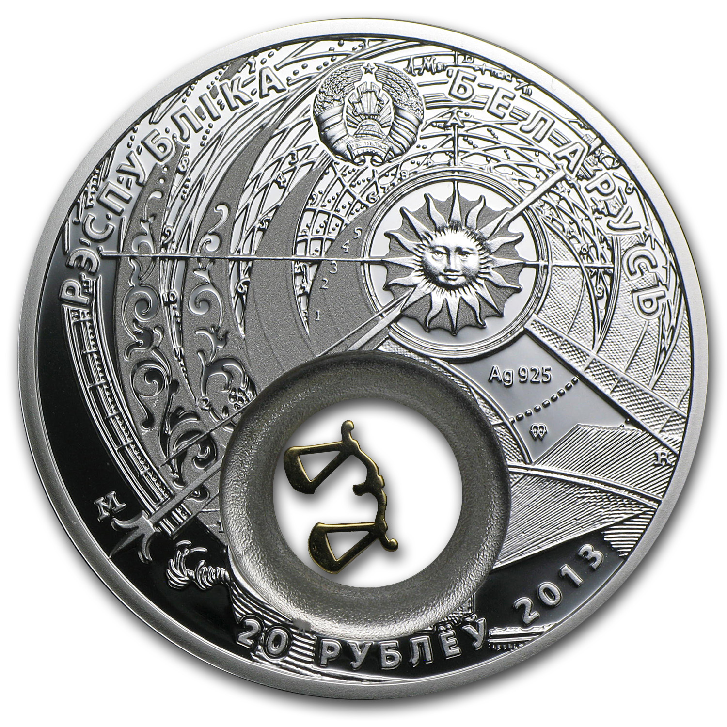 Belarus 2013 Silver Proof 20 Rubles Zodiac Signs - Libra