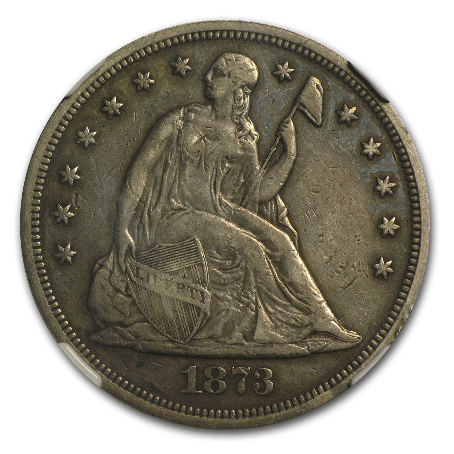 1873 Liberty Seated Dollar XF-45 NGC