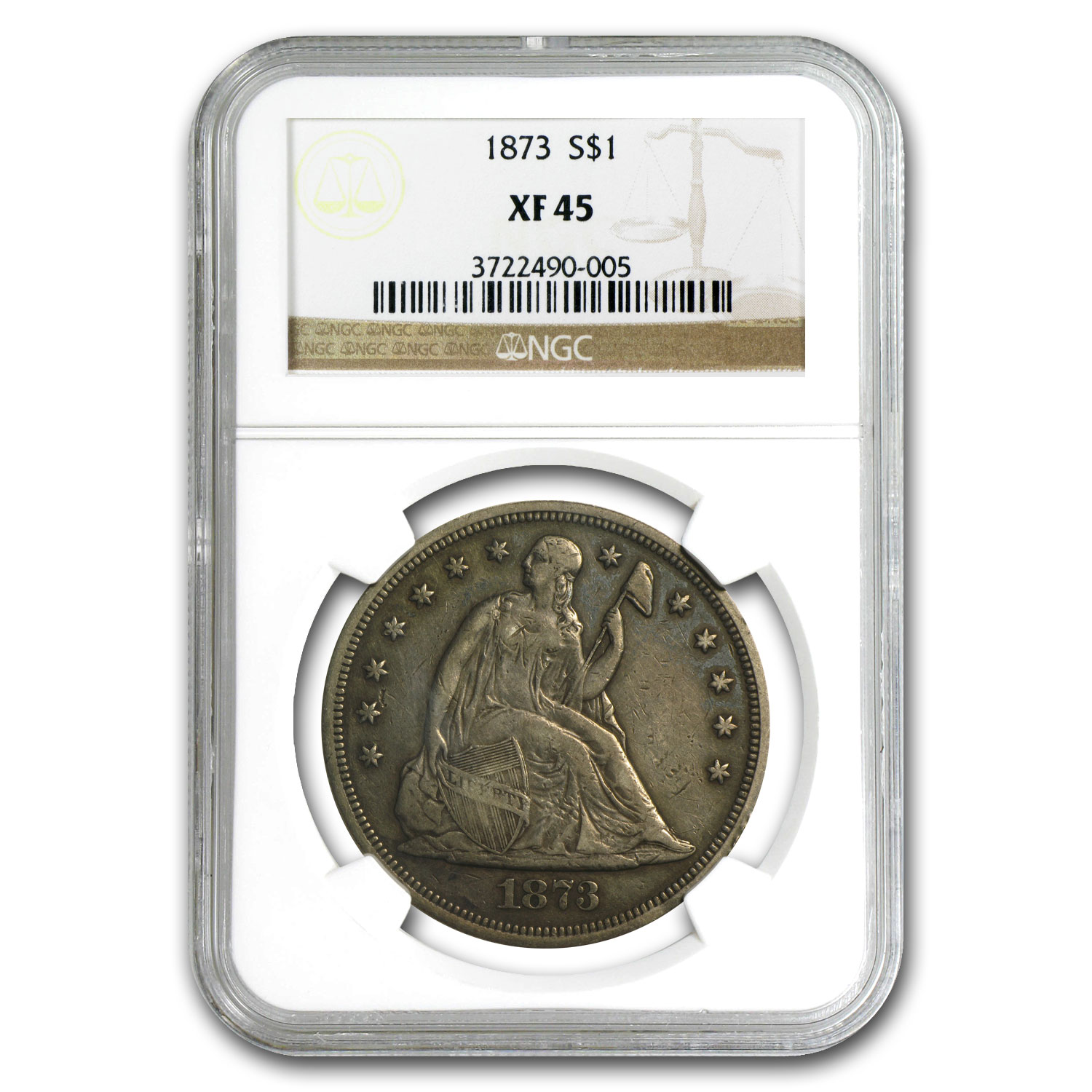1873 Liberty Seated Dollar Extra Fine-45 NGC