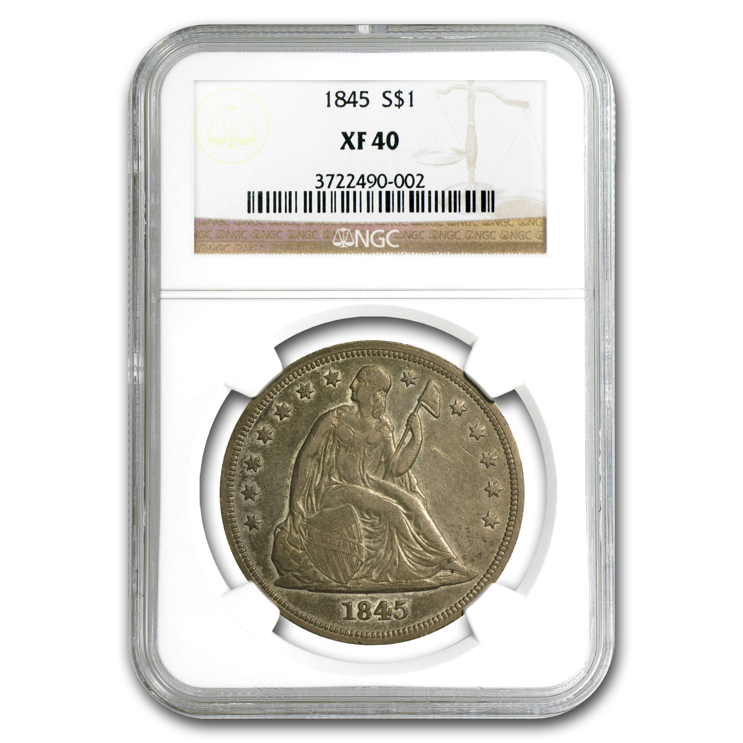 1845 Liberty Seated Dollar Extra Fine-40 NGC