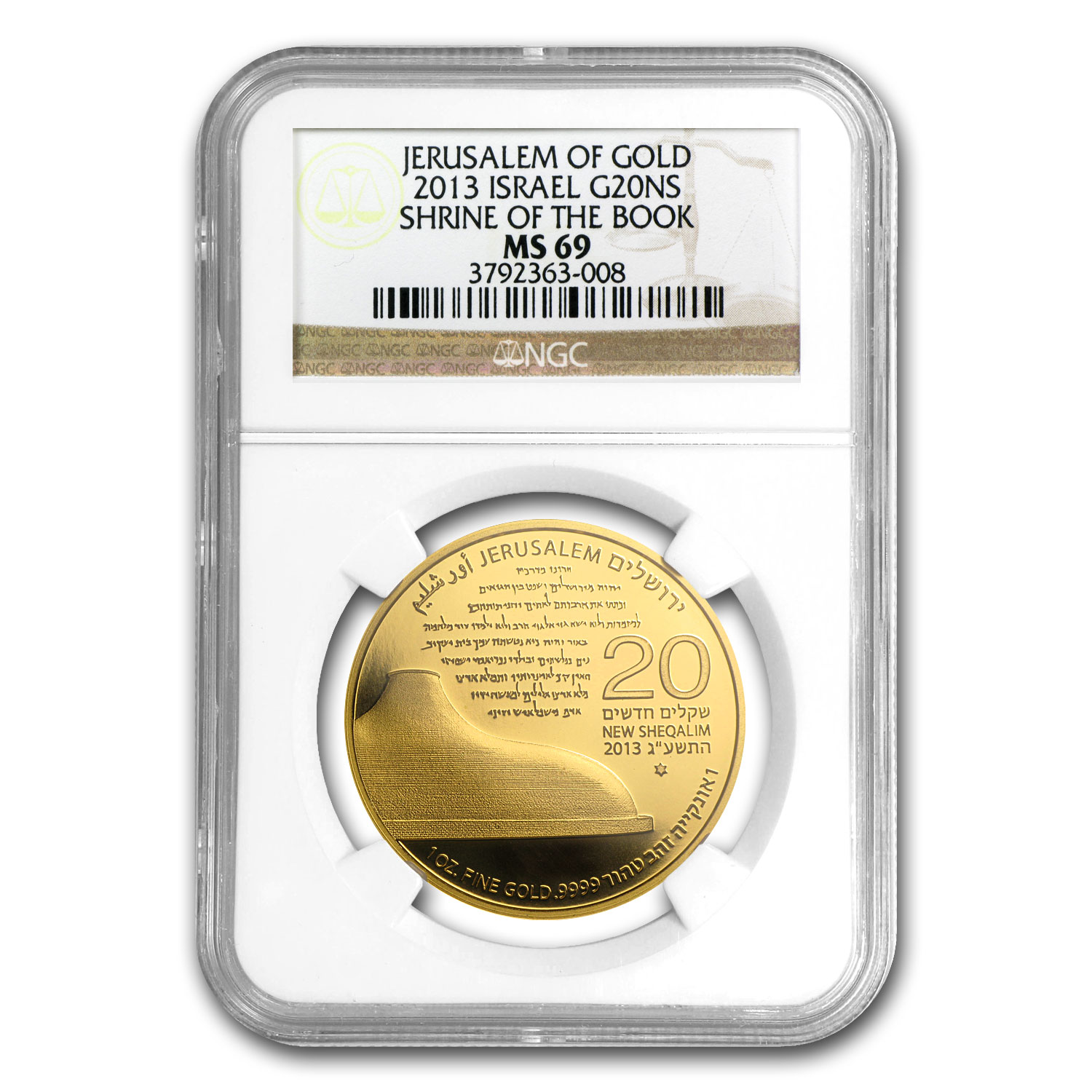 2013 Israel 1 oz Gold Shrine of the Book MS-69 NGC