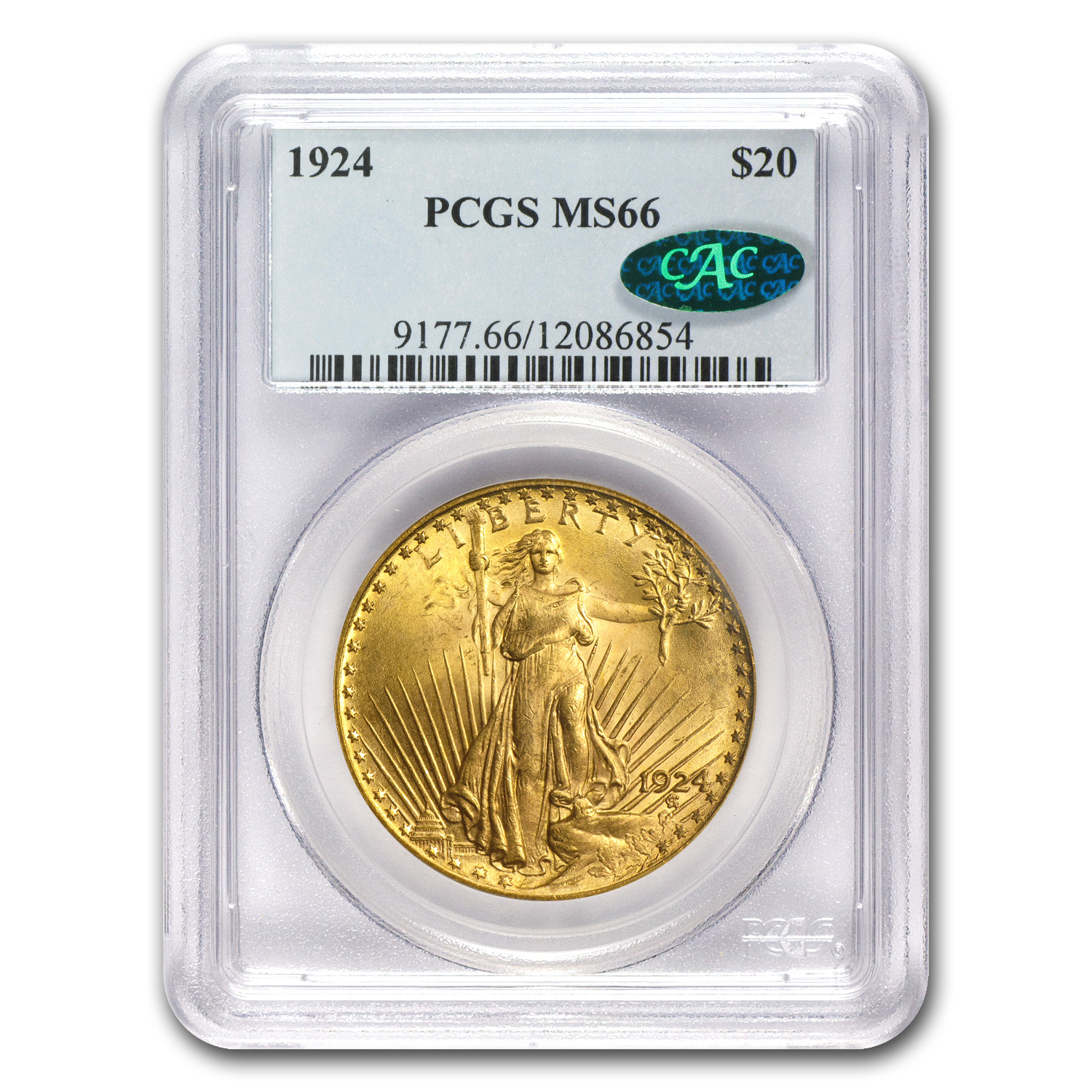 $20 Saint-Gaudens Gold Double Eagle MS-66 PCGS/NGC (CAC)