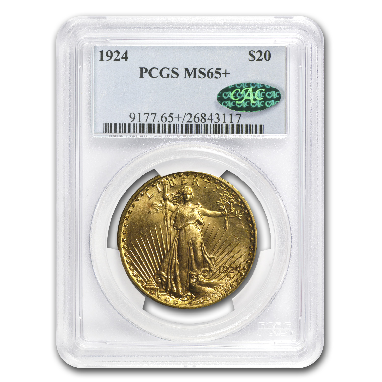 $20 Saint-Gaudens Gold Double Eagle - MS-65+ PCGS/NGC CAC