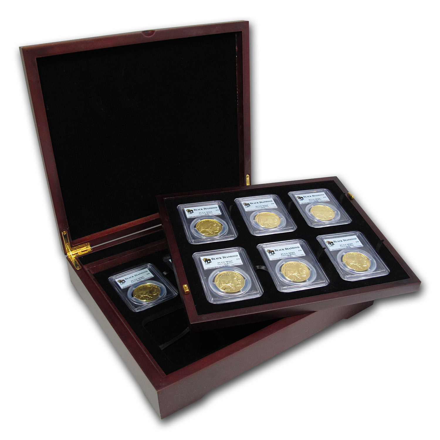 2006-2013 8-Coin 1 oz Gold Buffalo Set MS-69 PCGS (Black Diamond)