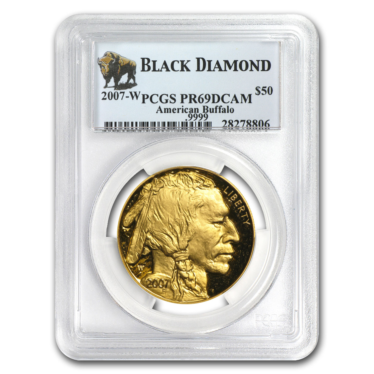 2007-W 1 oz Proof Gold Buffalo PR-69 PCGS (Black Diamond)