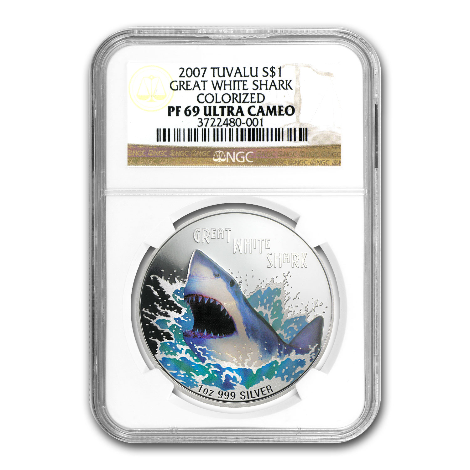 2007 Tuvalu 1 oz Silver Great White Shark PF-69 NGC