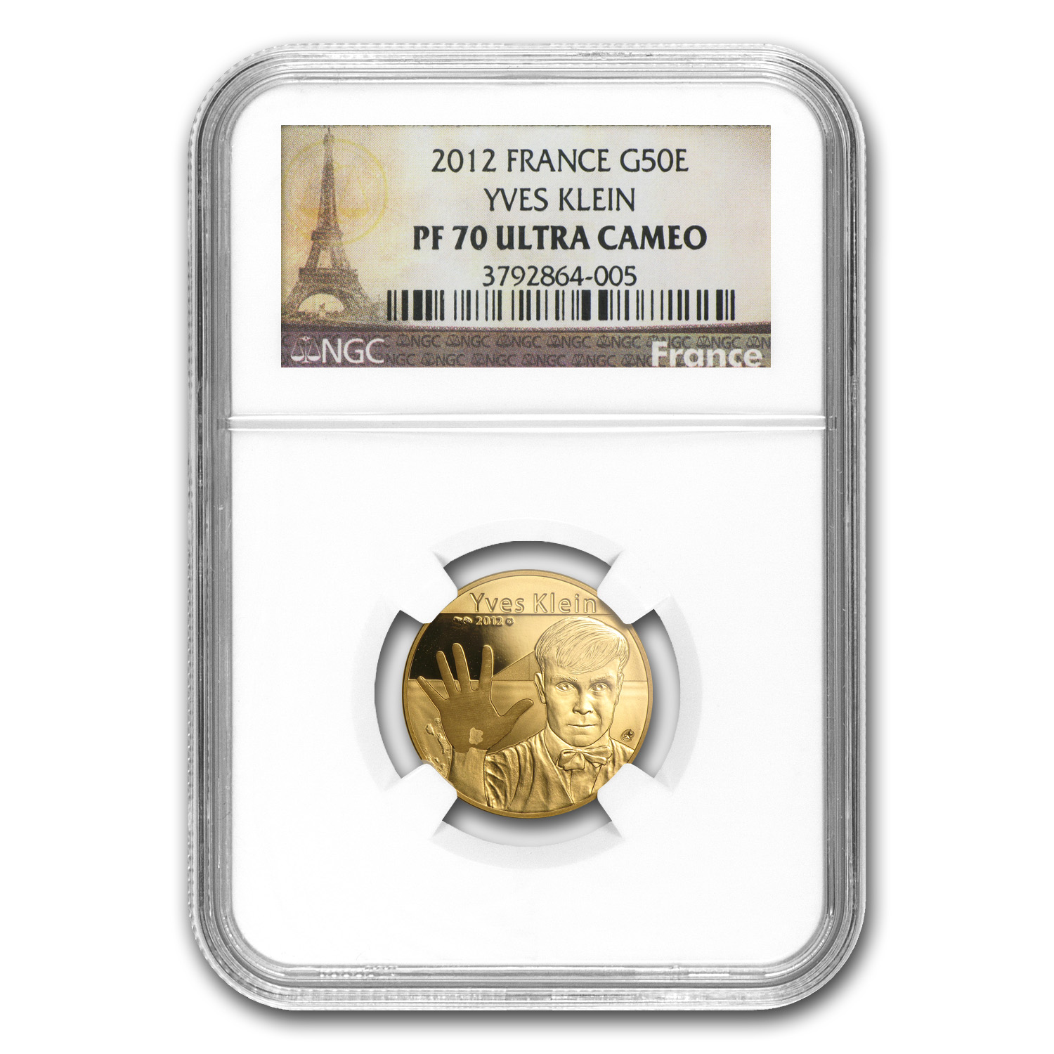 2012 France1/4 oz Gold Proof - Yves Klein - PF-70 UCAM NGC