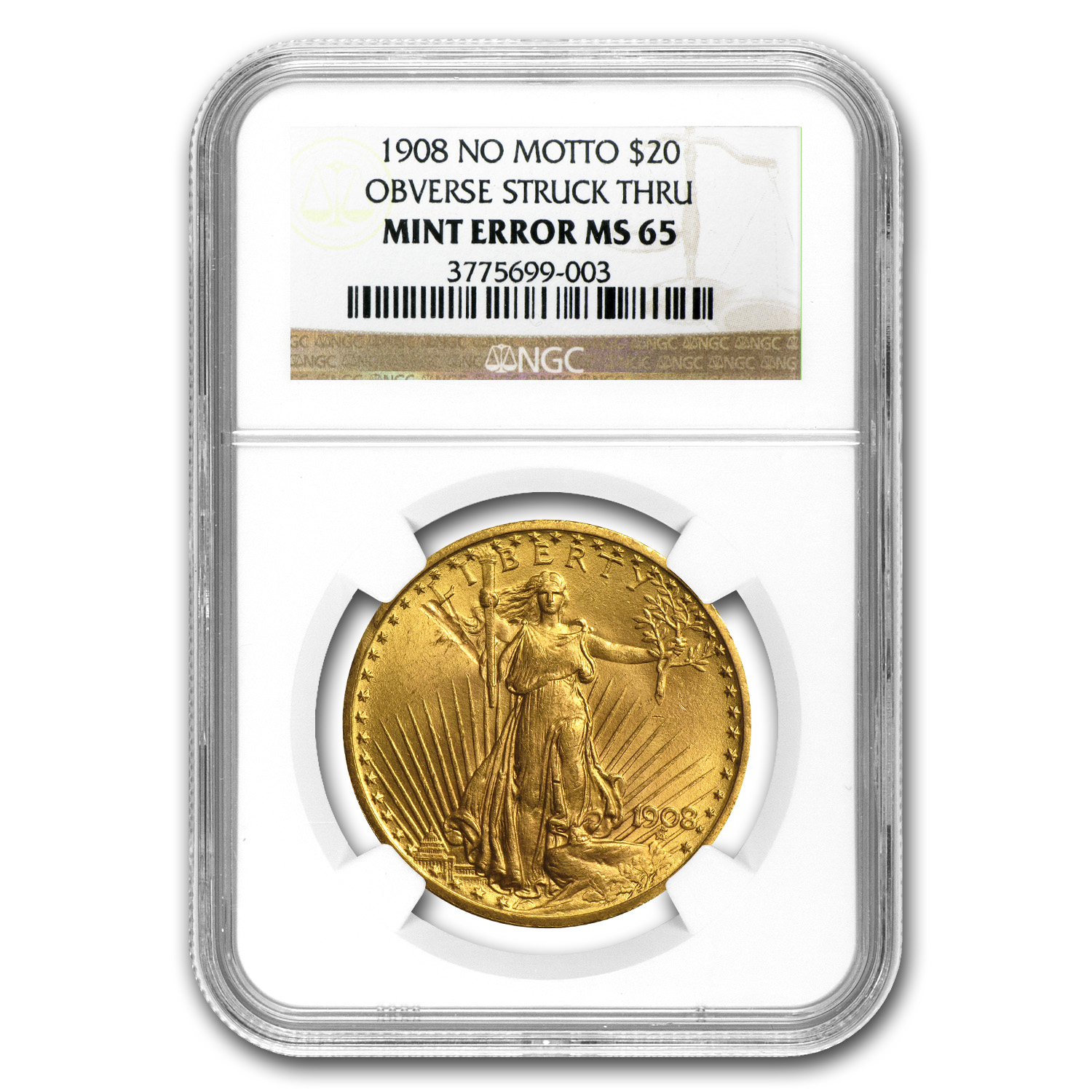 1908 $20 St. Gaudens Gold No Motto MS-65 NGC (Obv Strike Thru)