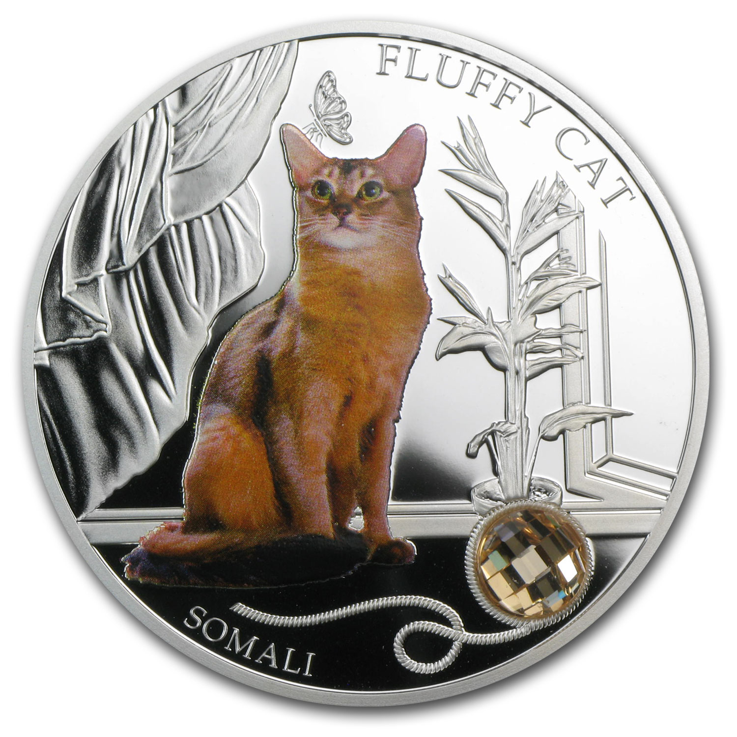 2013 Fiji Silver Dogs & Cats Series Fluffy Cat Somali