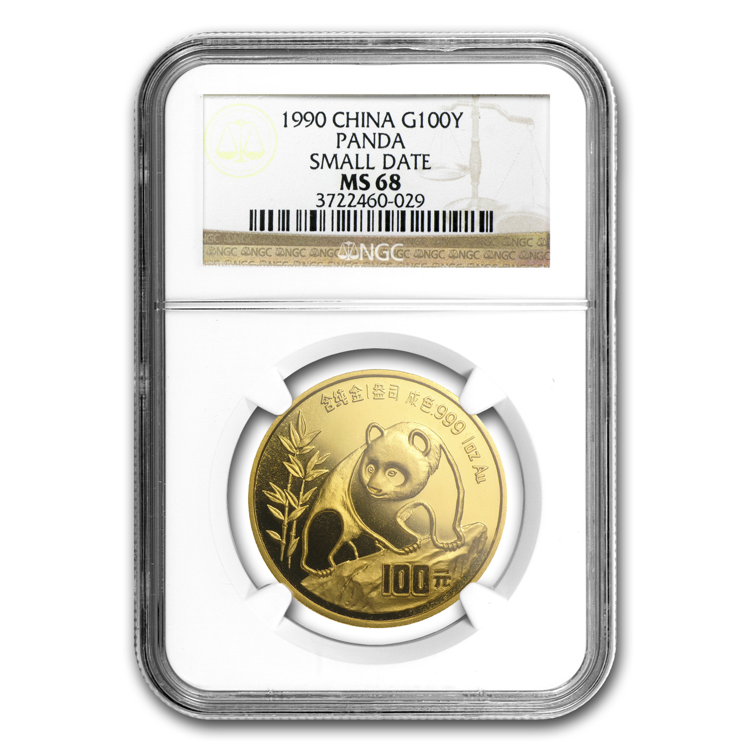 1990 China 1 oz Gold Panda Small Date MS-68 NGC