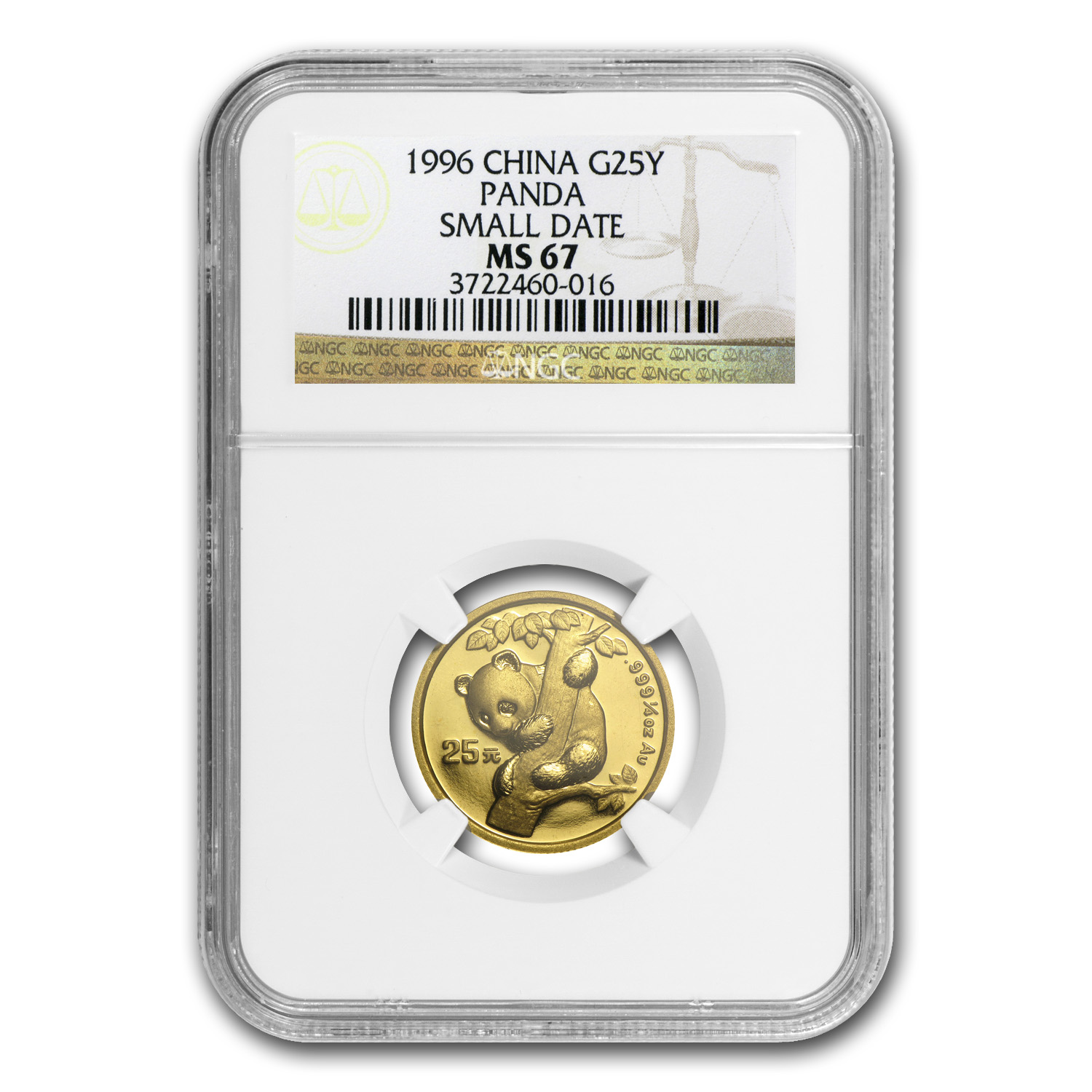1996 China 1/4 oz Gold Panda Small Date MS-67 NGC