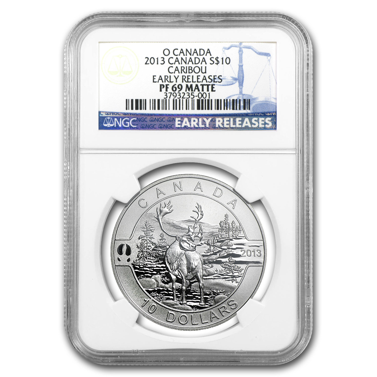 2013 1/2 oz Silver Canadian $10 The Caribou PF-69 Matte NGC (ER)