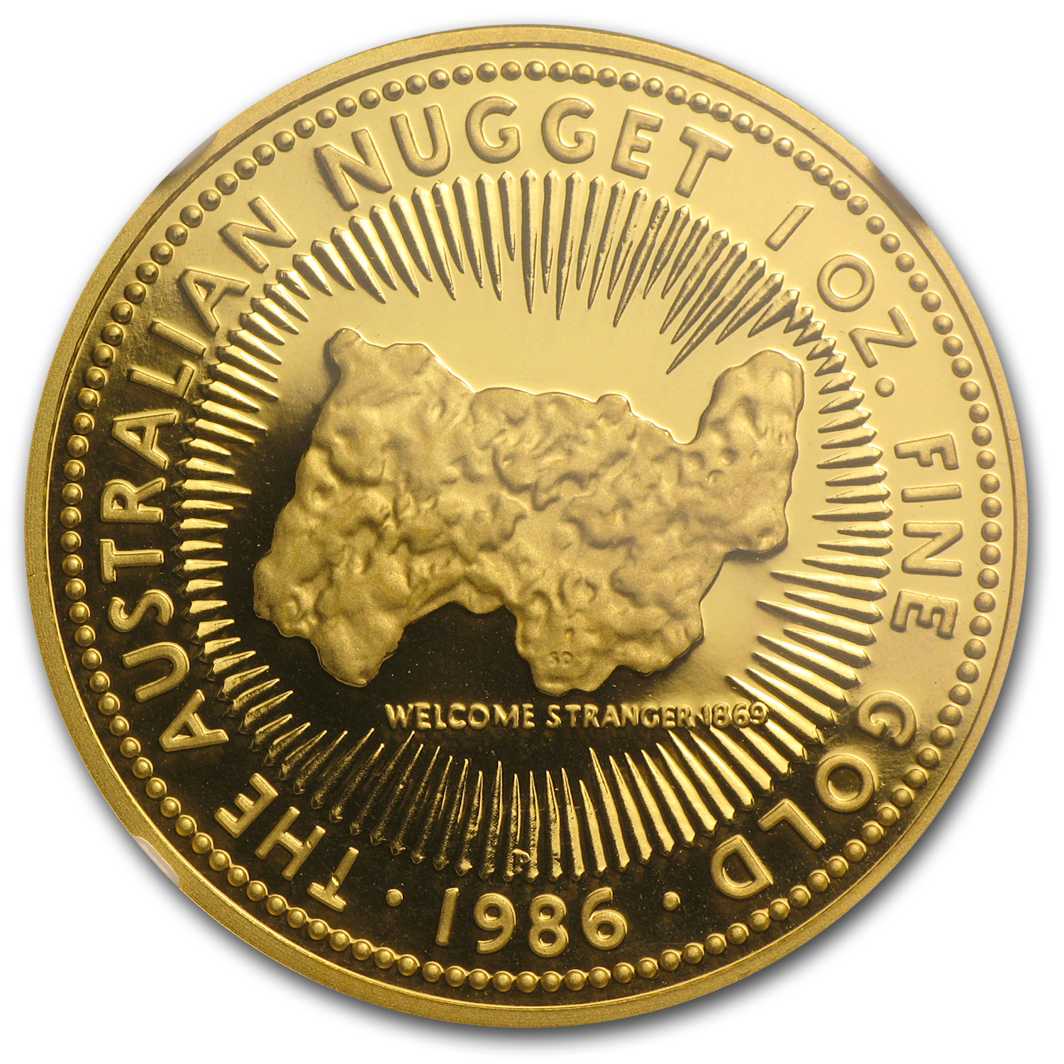 1986 1 oz Australian Proof Gold Nugget NGC PF-68