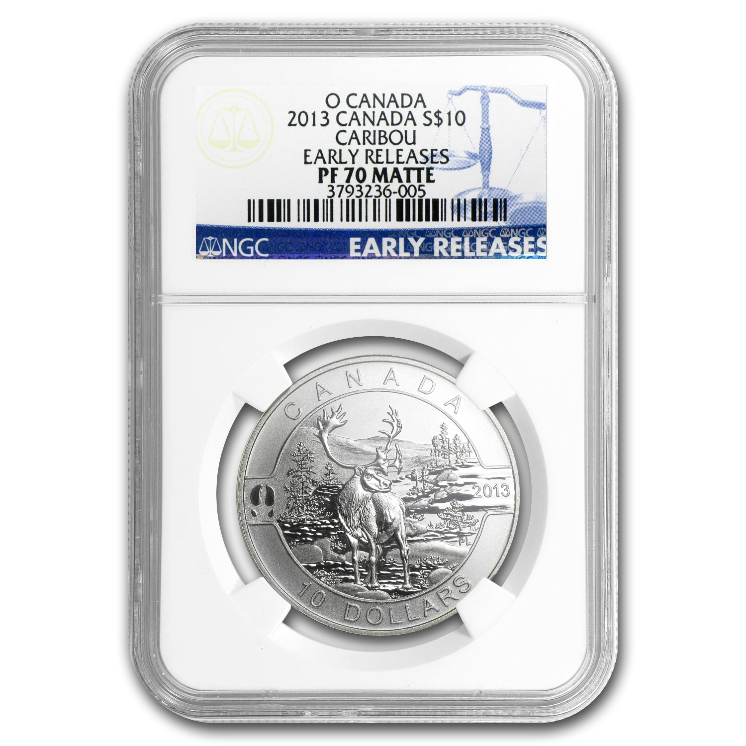 2013 Canada 1/2 oz Silver $10 The Caribou PF-70 Matte NGC (ER)