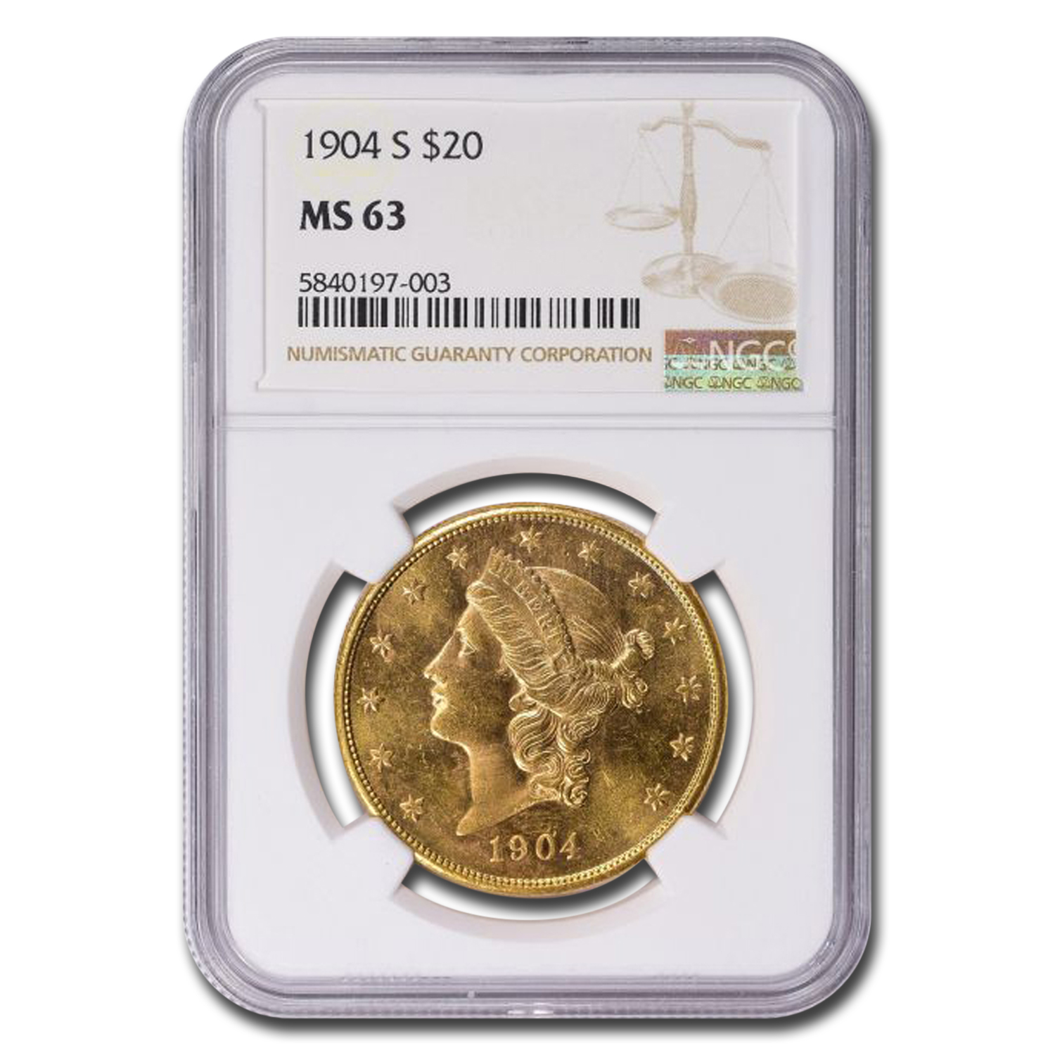 1904-S $20 Gold Liberty Double Eagle - MS-63 NGC