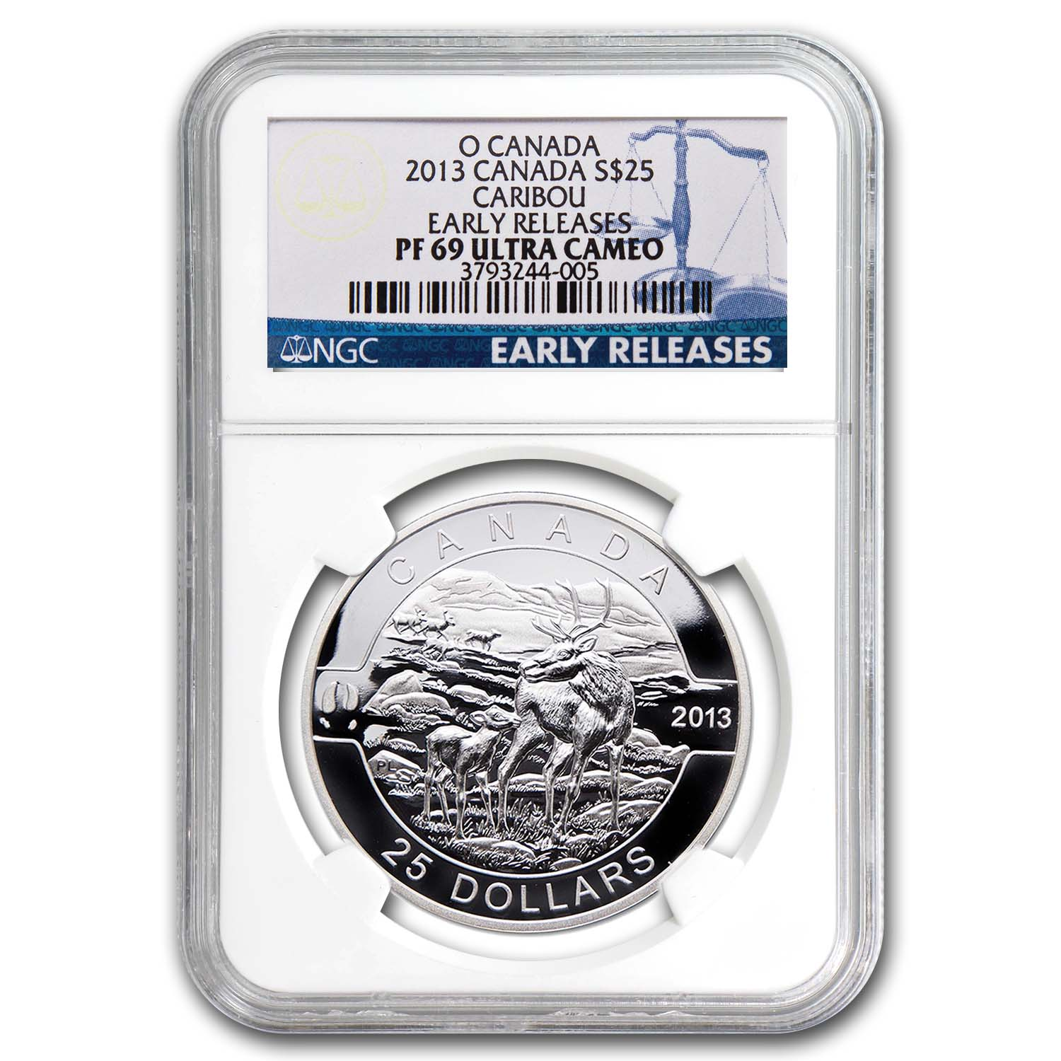 2013 1 oz Silver Canadian $25 The Caribou PF-69 NGC (ER)