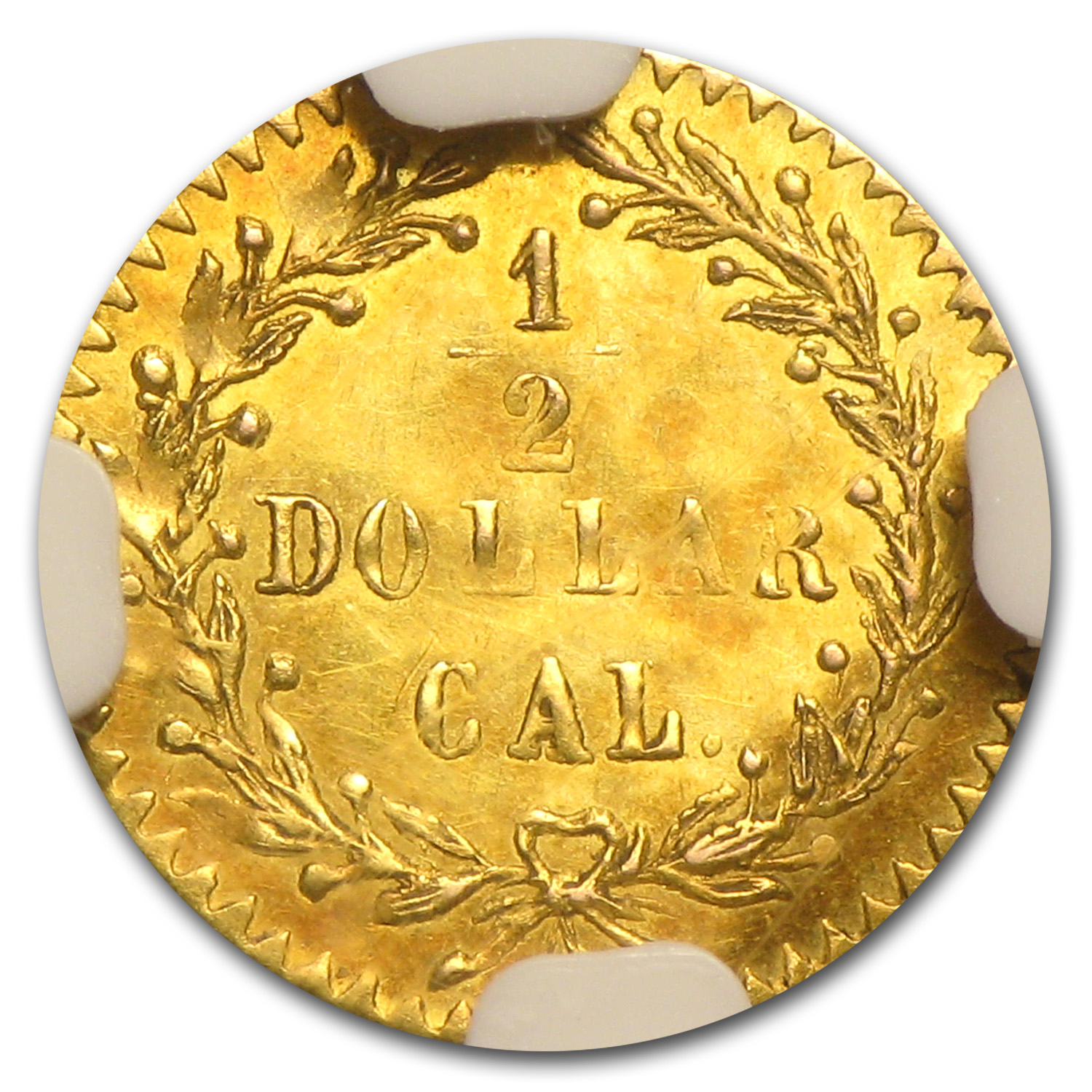 1875/3 BG-1058 Indian Round 50 Cent Gold Unc Details - Bent NGC
