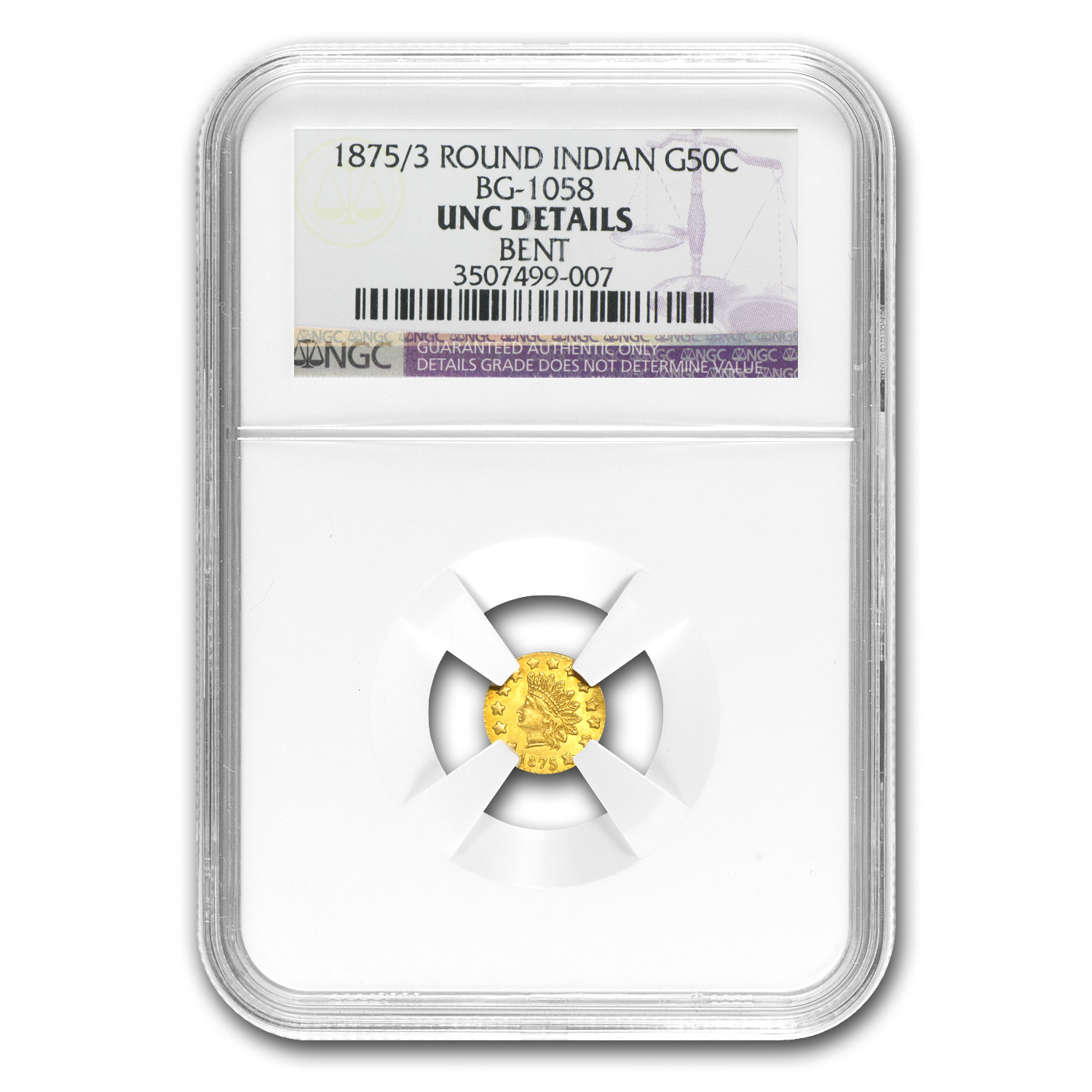 1875/3 BG-1058 Indian Round 50 Cent Gold Unc Details NGC (Bent)