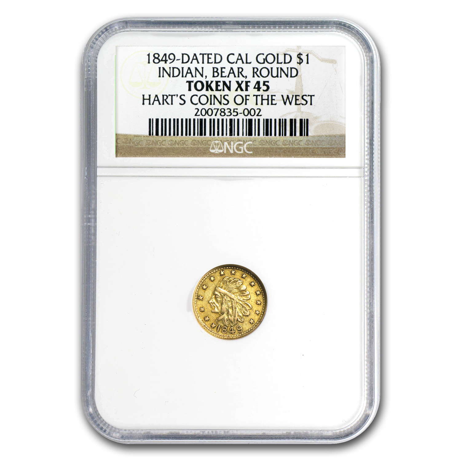 1849 Indian Round One Dollar Gold XF-45 NGC