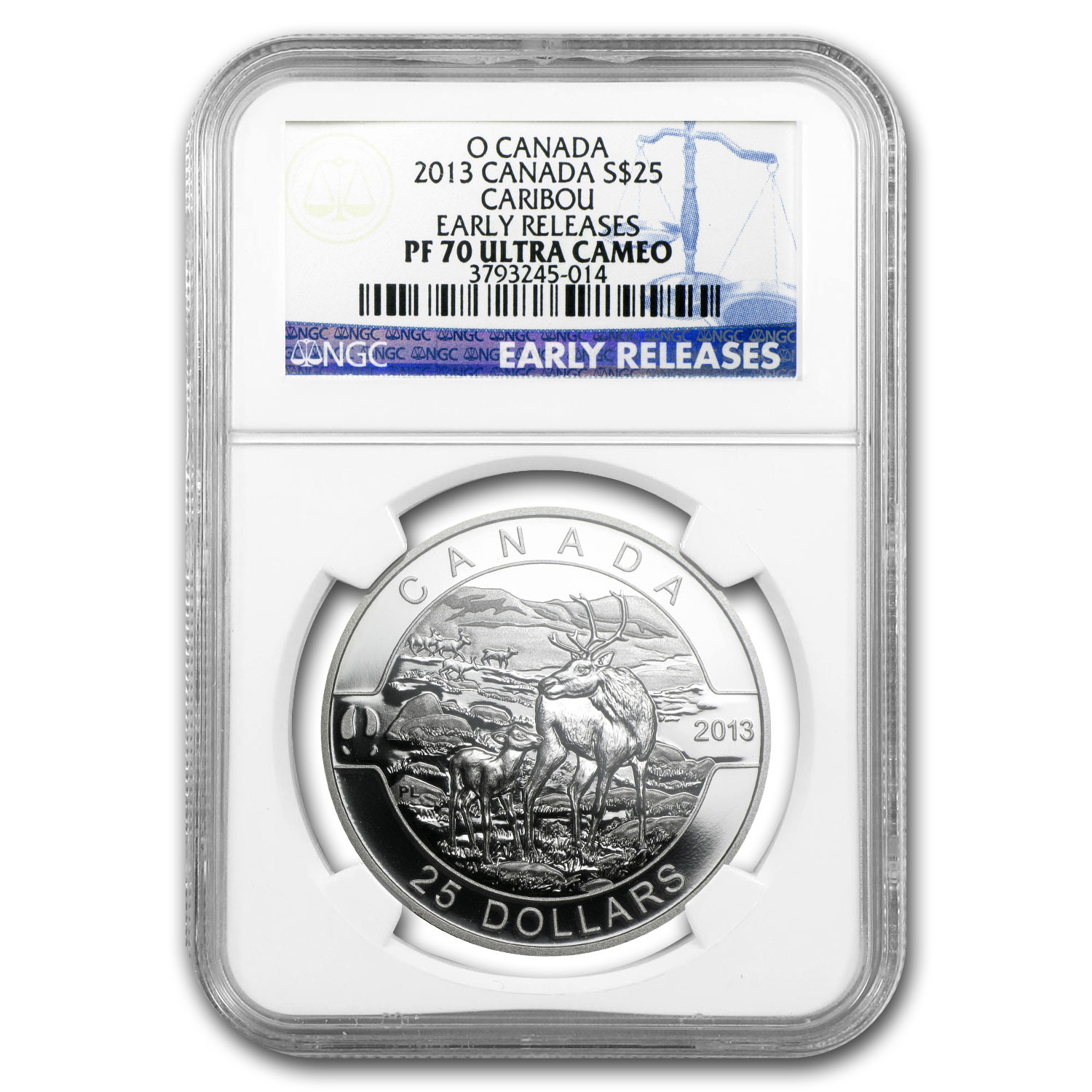 2013 Canada 1 oz Silver $25 The Caribou PF-70 NGC (ER)