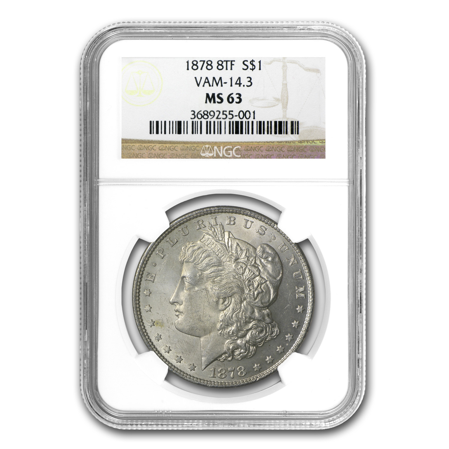 1878 Morgan Dollar 8 TF MS-63 NGC (VAM-14.3)