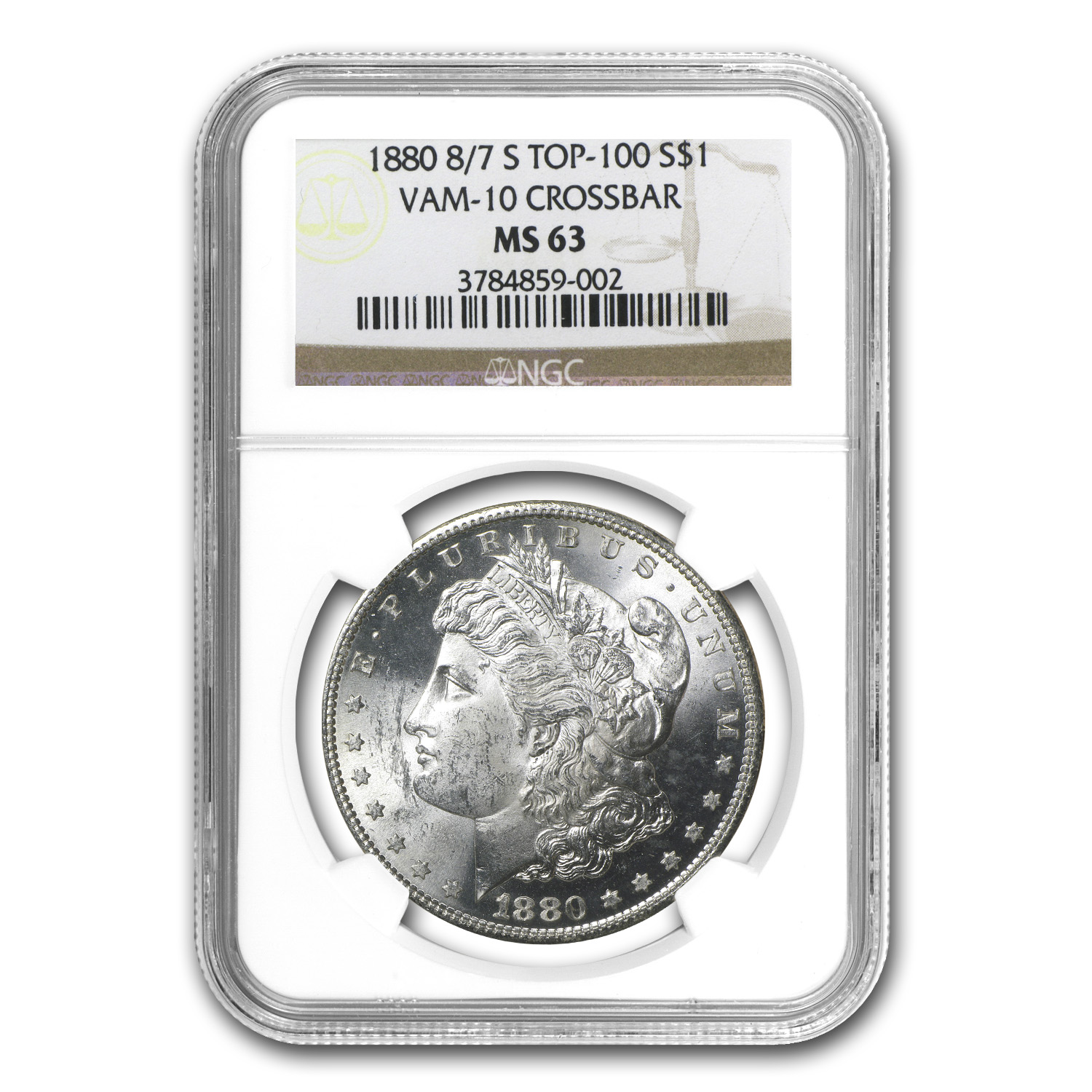 1880-S Morgan Dollar MS-63 NGC (VAM-10, 8 over 7, Top-100)