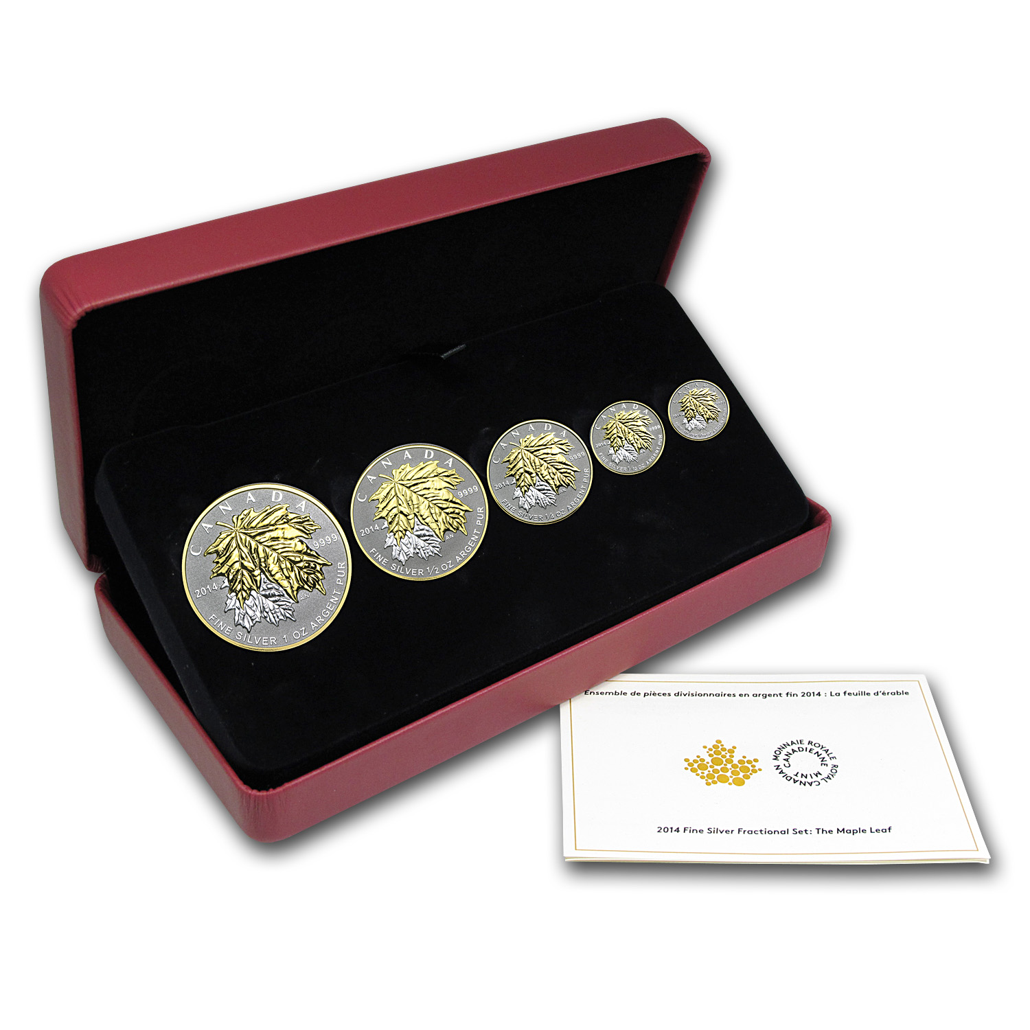 2014 Canada 5-Coin Reverse Proof Silver Maple Leaf Set