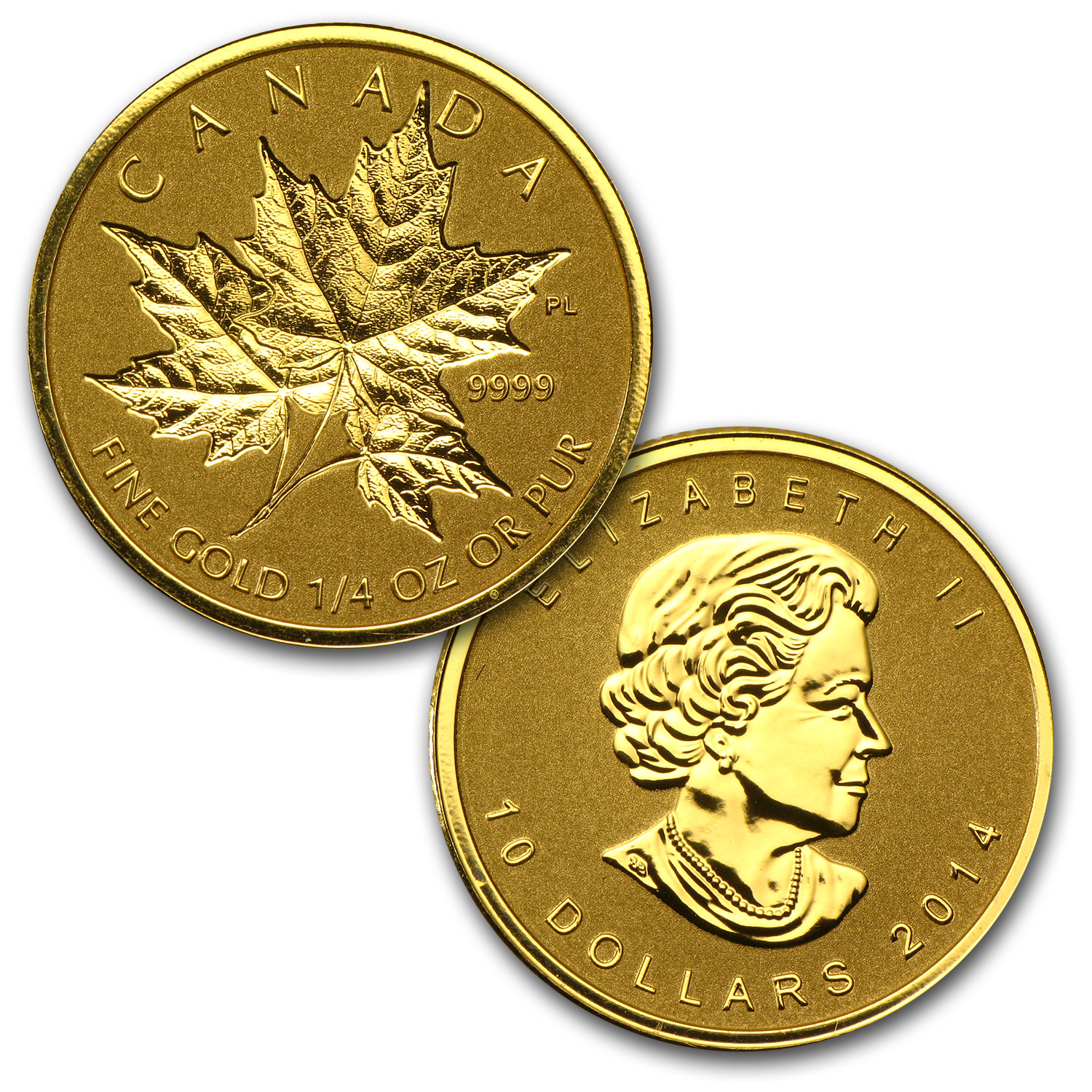 2014 Canada 4-Coin Reverse Proof Gold Maple Leaf Set (1.4 oz)