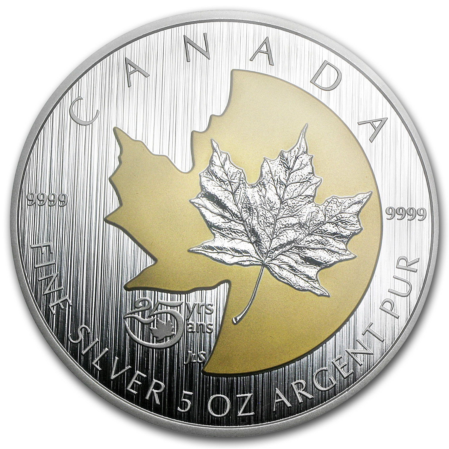 2013 5 oz Silver Gilded Canadian- 25th Anniv. of the Silver Maple