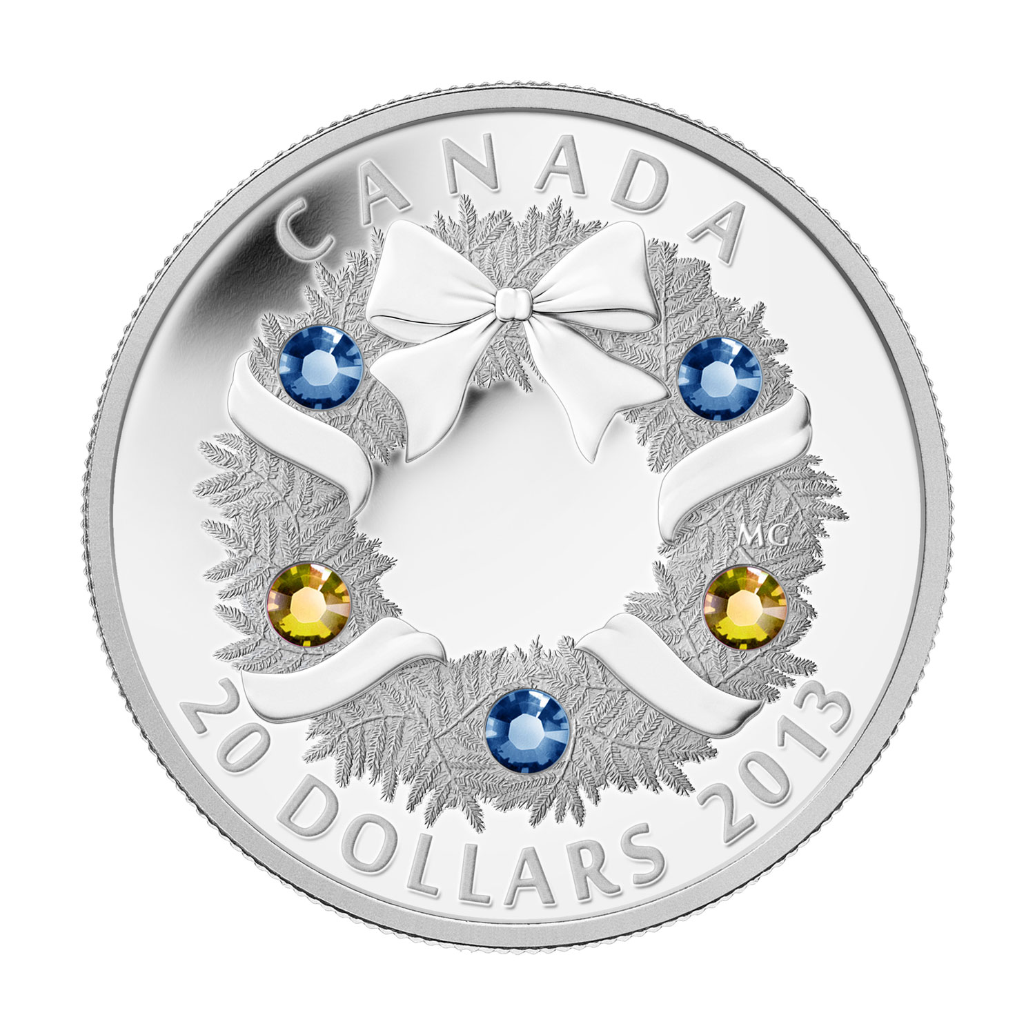 2013 Canada 1 oz Silver $20 Swarovski Crystal Holiday Wreath