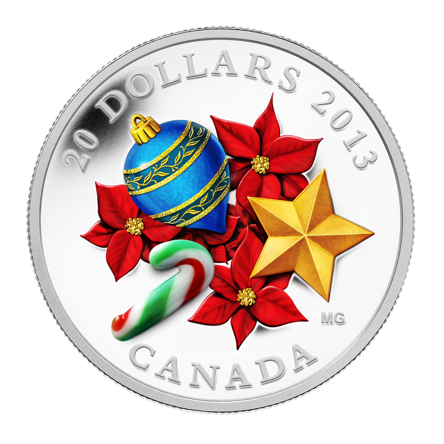 2013 1 oz Silver Canadian $20 Venetian Glass Candy Cane