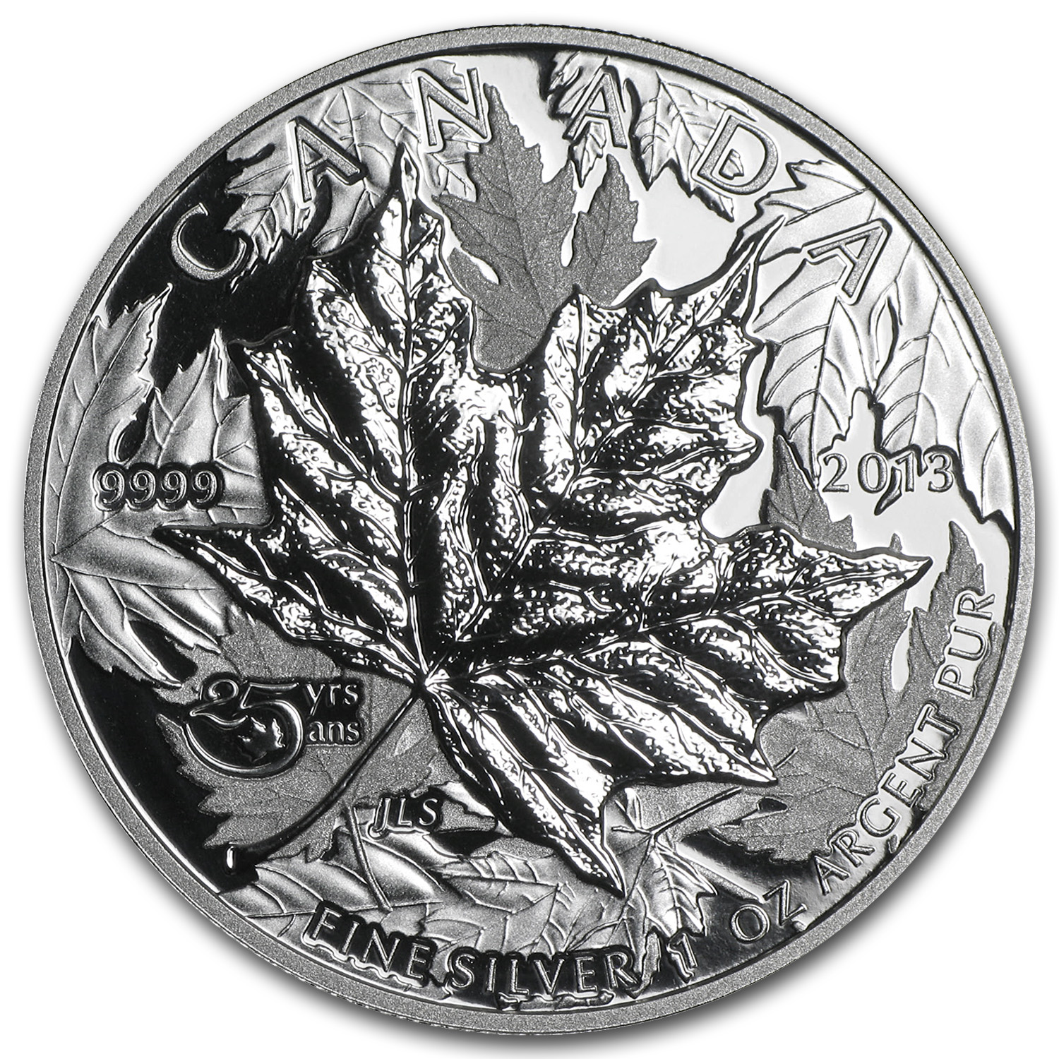 2013 Canada 1 oz Silver Maple Leaf (25th Anniv, HR, Piedfort)