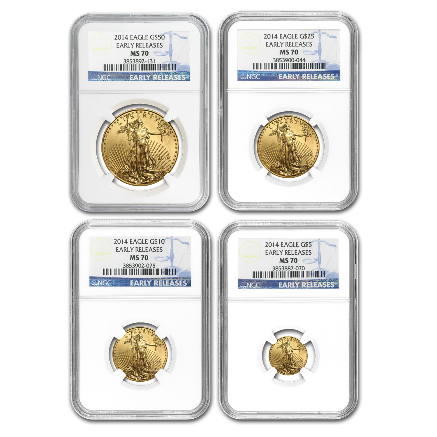 2014 4-Coin Gold American Eagle Set MS-70 NGC Early Releases