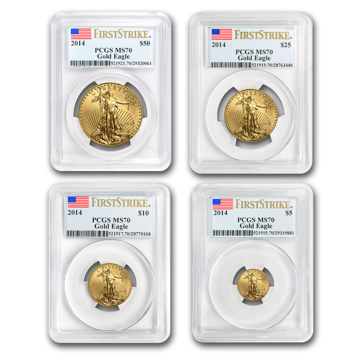 2014 4-Coin Gold American Eagle Set MS-70 PCGS (FS)