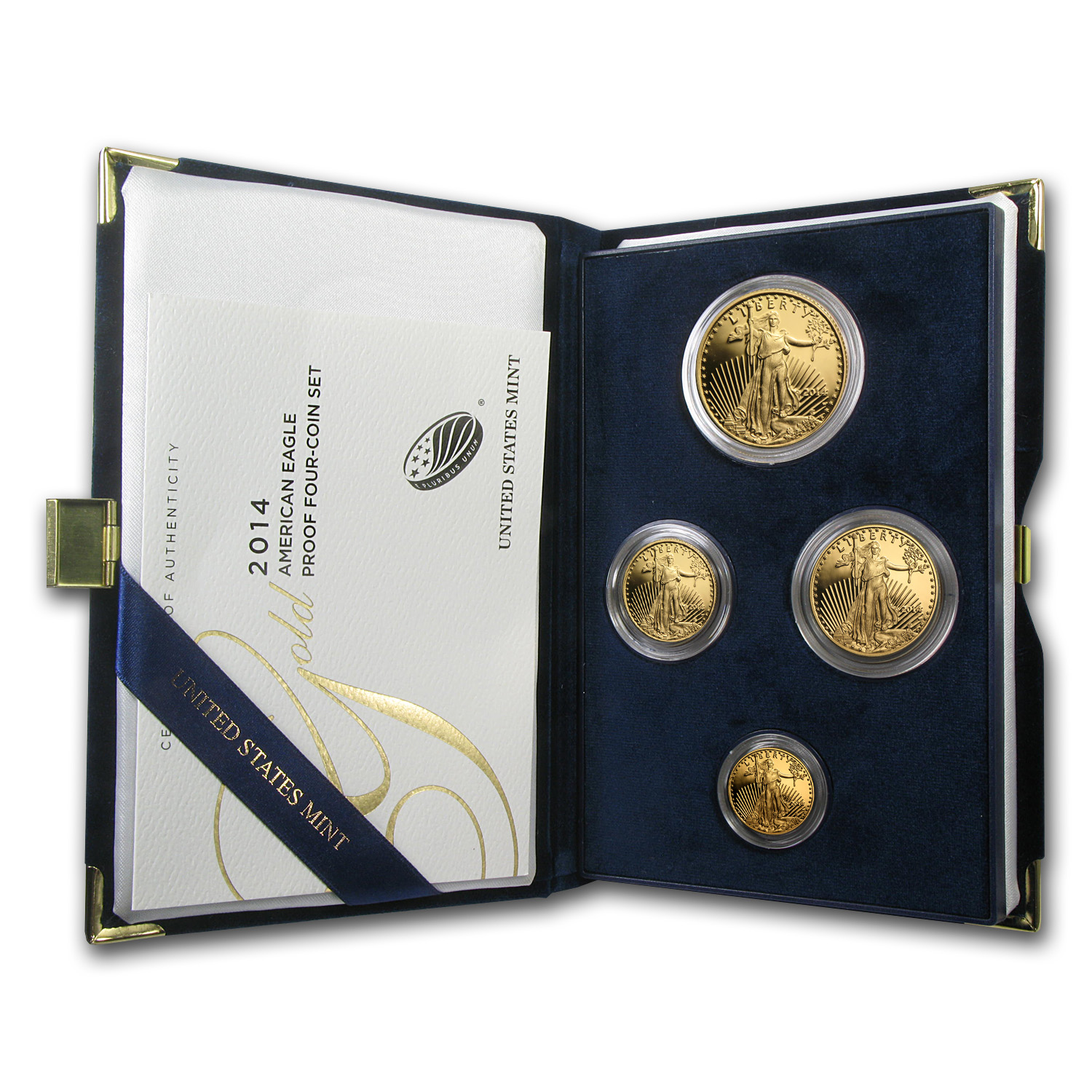 2014-W 4-Coin Proof Gold American Eagle Set (w/Box & COA)