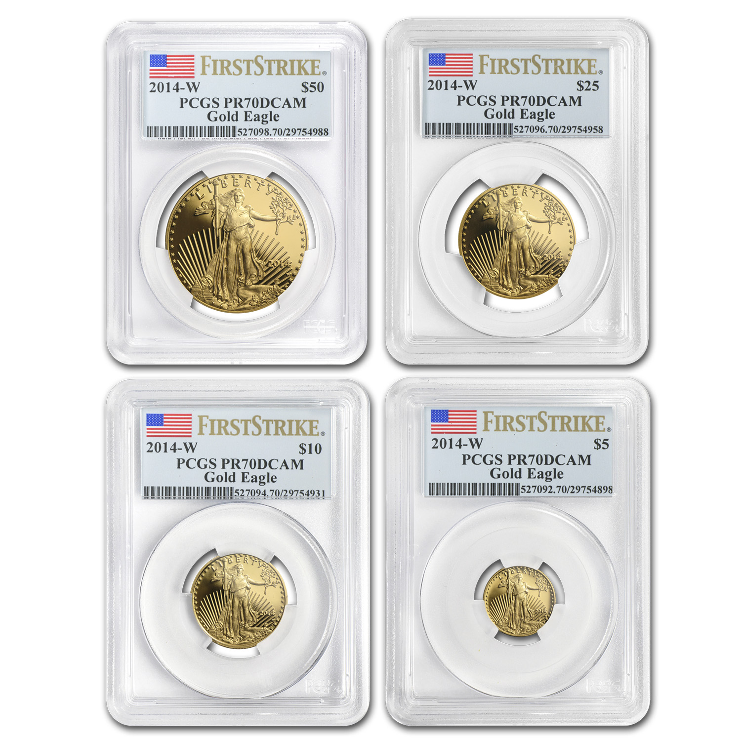 2014-W 4-Coin Proof Gold Eagle Set PR-70 PCGS First Strike