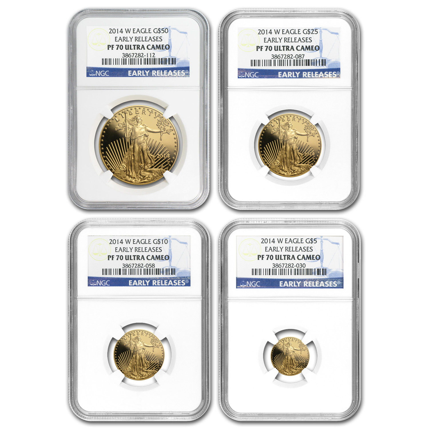 2014-W 4-Coin Proof Gold American Eagle Set PF-70 NGC (ER)