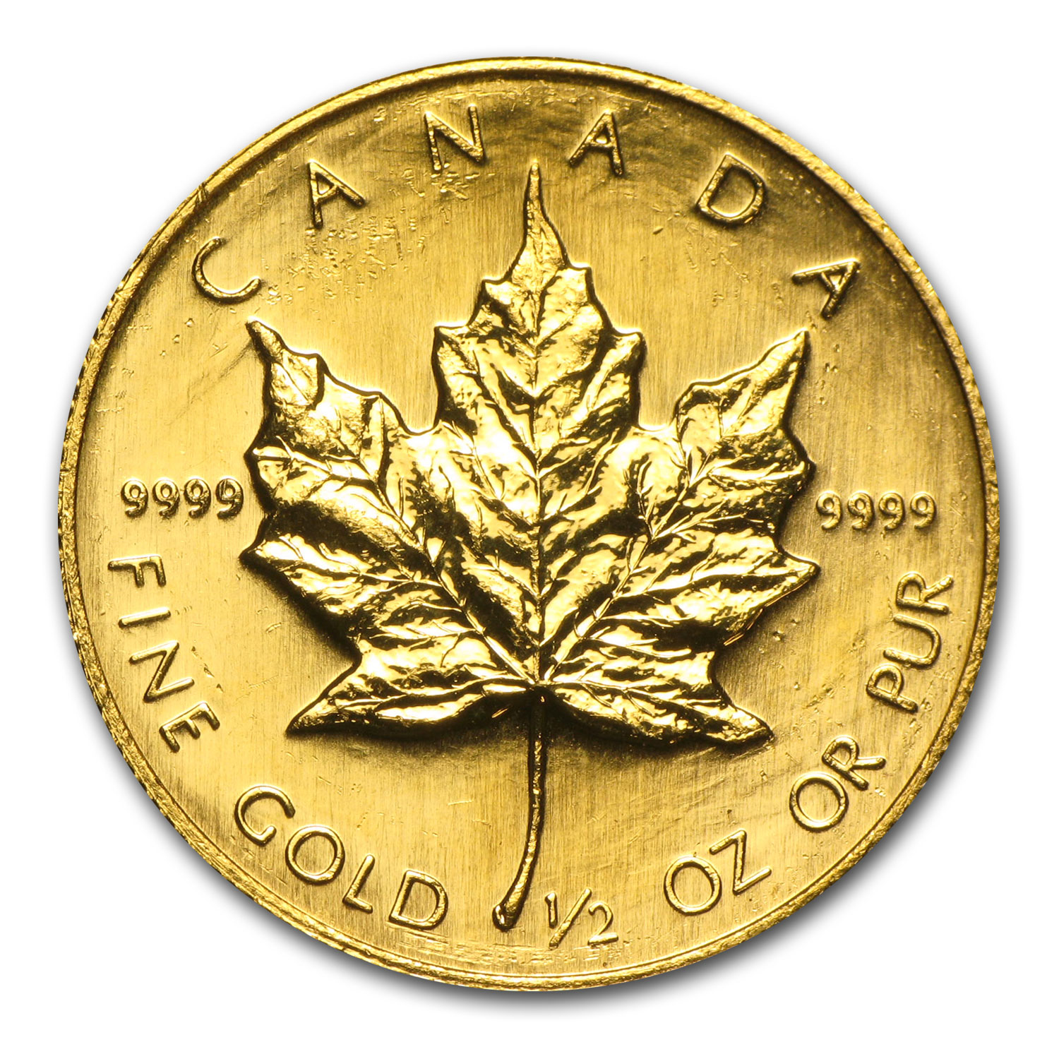 1/2 oz Gold Canadian Maple Leaf (Random Year, lightly scratched)