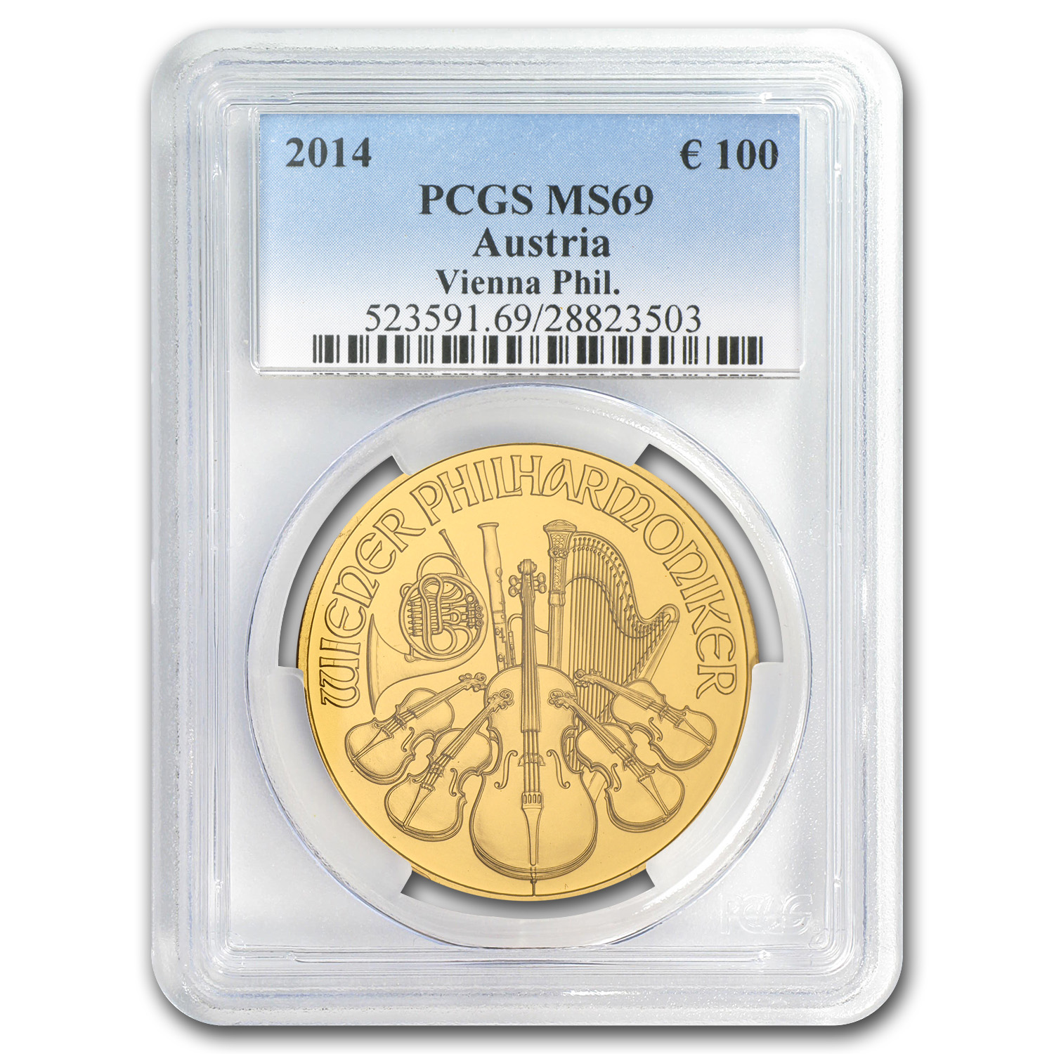 2014 1 oz Gold Austrian Philharmonic MS-69 PCGS