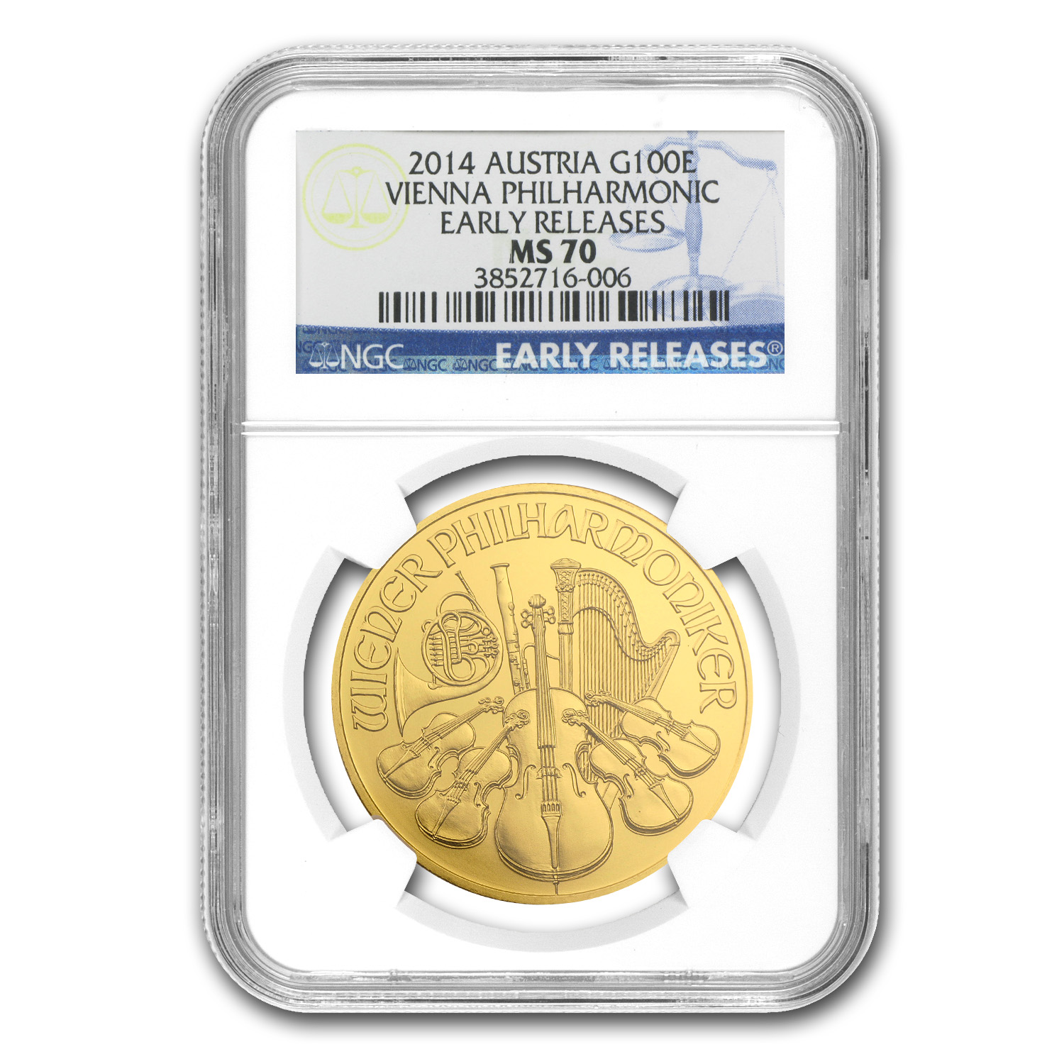2014 Austria 1 oz Gold Philharmonic MS-70 NGC (ER)