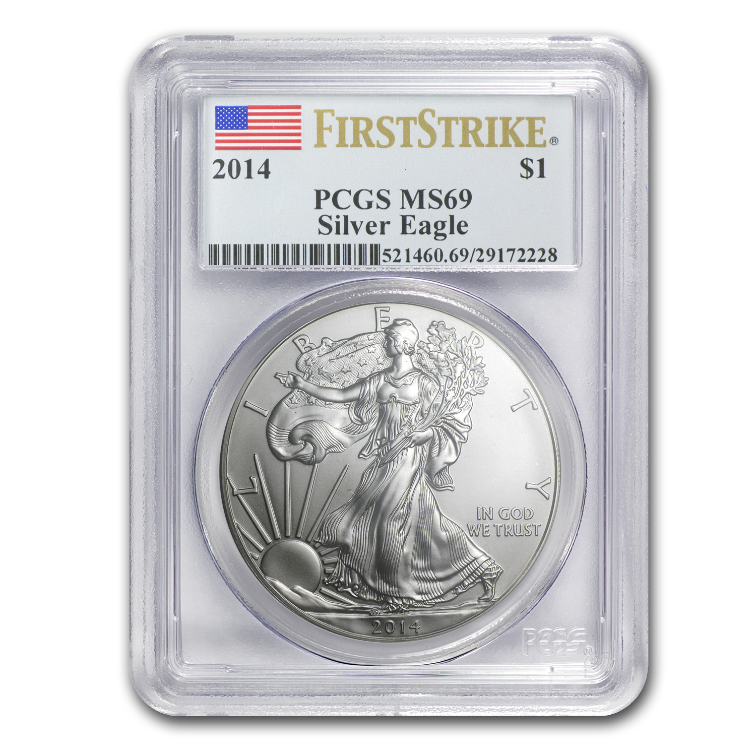 2014 Silver American Eagle MS-69 PCGS (First Strike)