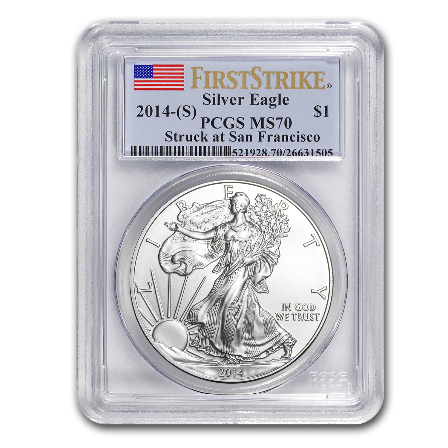 2014 (S) Silver American Eagle MS-70 PCGS (First Strike)