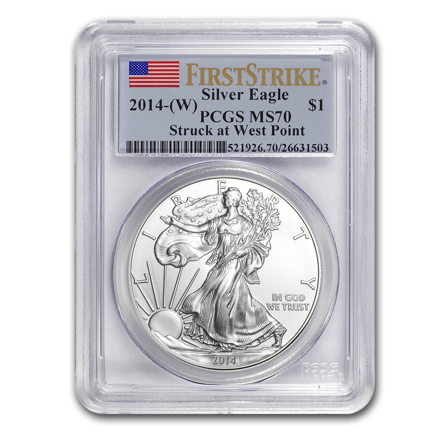 2014 (W) Silver American Eagle MS-70 PCGS (First Strike)